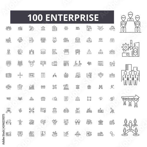 Enterprise editable line icons, 100 vector set on white background Wallpaper Mural