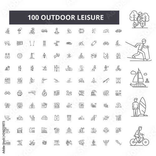Obraz Outdoor leisure editable line icons, 100 vector set on white background. Outdoor leisure black outline illustrations, signs, symbols - fototapety do salonu