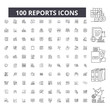 Reports editable line icons, 100 vector set on white background. Reports black outline illustrations, signs, symbols