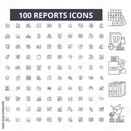 Fotografía  Reports editable line icons, 100 vector set on white background