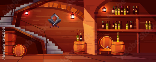 Vector wine cellar background, cozy space with wooden barrels, glass bottles Canvas Print