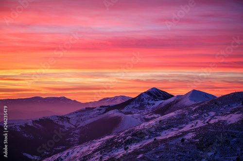 Fotografia, Obraz Sunset looking Gran Sasso Mountain