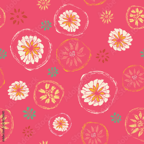 Fotografie, Obraz  Pretty floral pattern featuring abstract flowers in a pink, yellow and white seamless repeat design