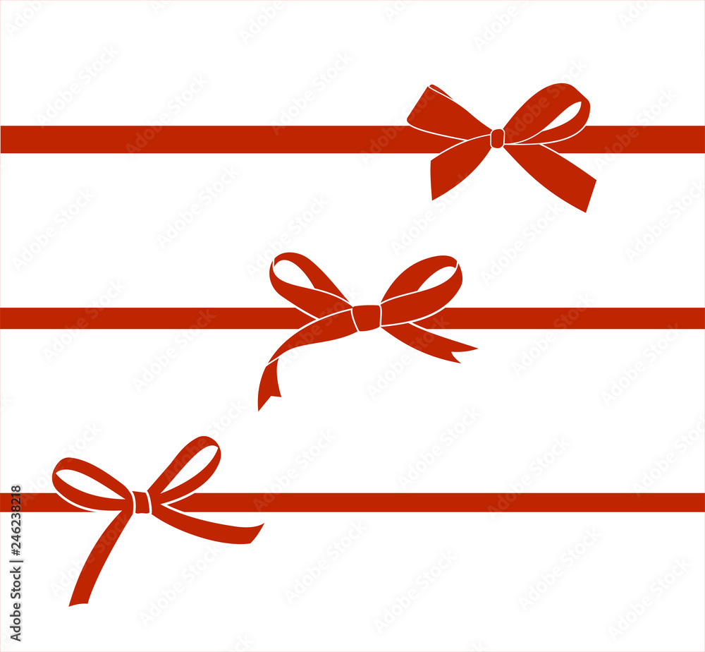 Fototapeta Set of red satin bow isolated on white. Vector gift bows  for page decor.
