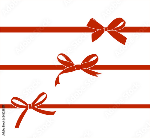 Set of red satin bow isolated on white Fotobehang