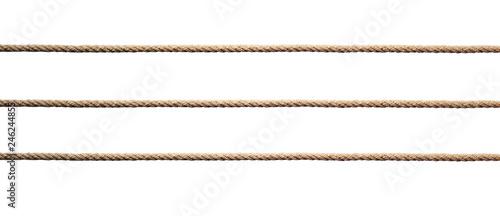 Fotografiet  Three straight lines of twisted manila rope.