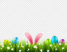 Easter Eggs On Grass With Bunny Rabbit Ears Set. Spring Holidays In April. Sunday Seasonal Celebration With Egg Hunt.