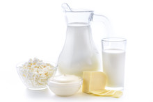 Milk, Cottage Cheese, Sour Cream, Cheese, Still Life From Fresh Dairy Products. Dairy Nutrition Is Good For Children's Health. Milk Cocktail From Fresh Foods On A White Background.