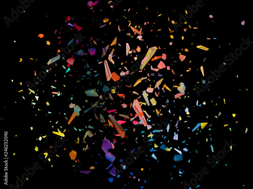 Colorful shards on black background. Abstract vector explosion. Canvas Print