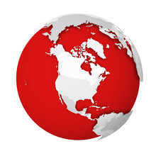 3D Earth Globe With Blank Political Map Dropping Shadow On Red Seas And Oceans. Vector Illustration