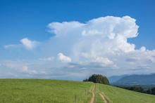 Cumulus Wolke über Einer Wiese