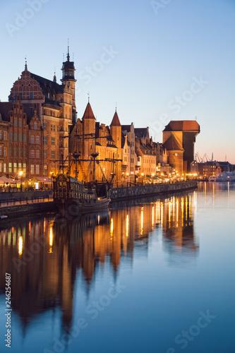 Obraz Gdańsk wieczorową porą - fototapety do salonu