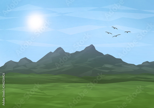 Foto op Plexiglas Blauwe hemel mountain landscape sunrise illustration