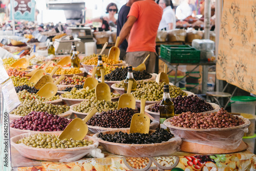 Olives at the farmers market in Arles, France Wallpaper Mural