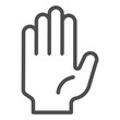 Hi five gesture line icon. Stop hand vector illustration isolated on white. Palm outline style design, designed for web and app. Eps 10.
