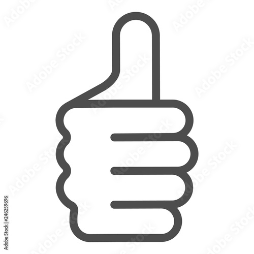 Obraz Thumb up gesture line icon. Like vector illustration isolated on white. Ok hand gesture outline style design, designed for web and app. Eps 10. - fototapety do salonu