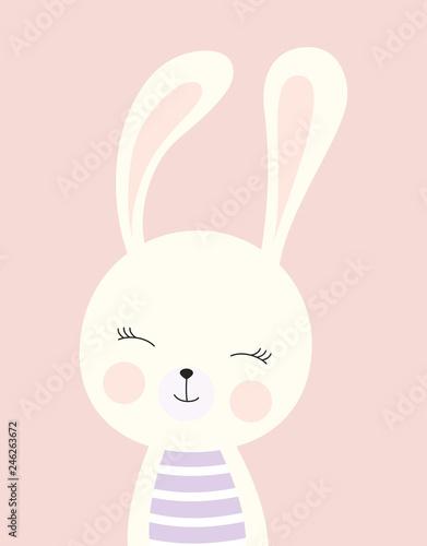 Naklejka premium karta z cute bunny