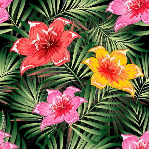 Foto op Canvas Draw Seamless pattern of a tropical palm tree, jungle leaves and flowers. Hand drawing. Vector floral pattern.