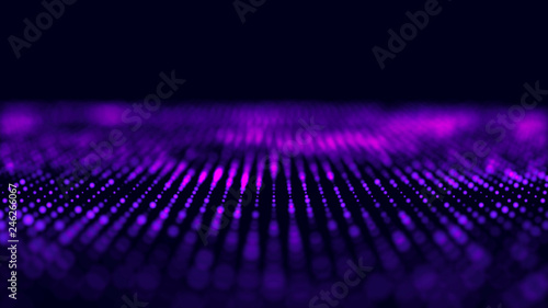 Fotobehang Violet Violet computer technology background. Big data visualization. Technology landscape. Futuristic illustration. 3d rendering.