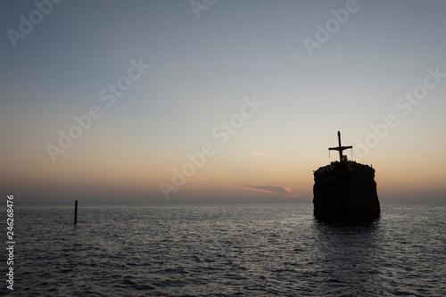 Fotografia, Obraz  The greek ship wreckage in kish island after sunset