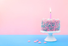 Birthday Cake With A Candle