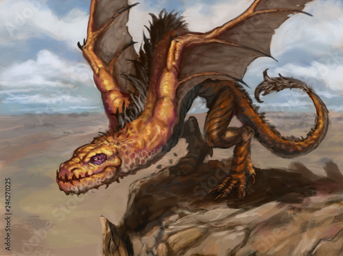 Obrazy smoki orange-desert-dragon-spreading-its-wings-to-jump-from-a-cliff-and-fly-down-into-the-valley-digital-fantasy-painting
