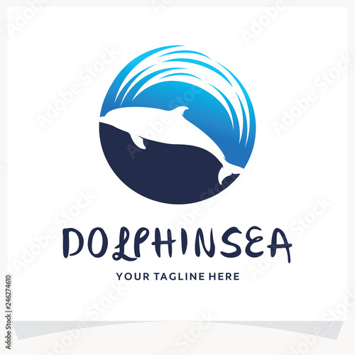 Doplhin Sea Logo Design Template Inspiration Fototapet