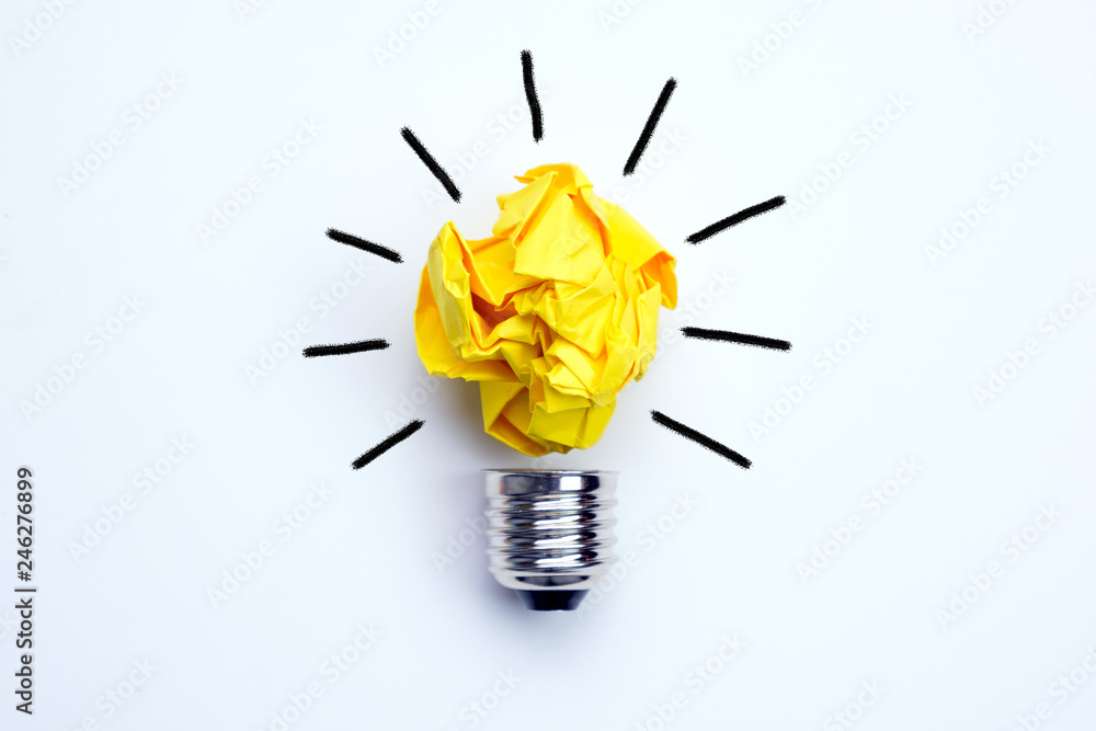 Fototapety, obrazy: Great idea concept with crumpled yellow paper light bulb isolated on white background