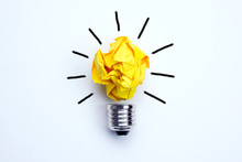 Great Idea Concept With Crumpled Yellow Paper Light Bulb Isolated On White Background