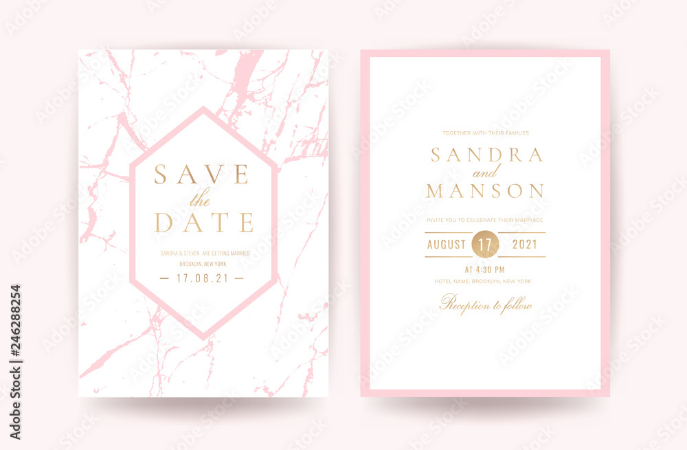 Luxury Pink And Rose Gold Marble Wedding Invitation Cards