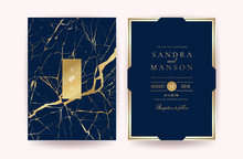Luxury Indigo Marble Wedding Invitation Cards. Can Be Adapt To Covers Design, RSVP, Brochure, Packaging, Magazine, Poster And Greeting Cards. Vector