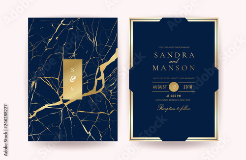 Fotografia, Obraz  Luxury indigo marble wedding invitation cards