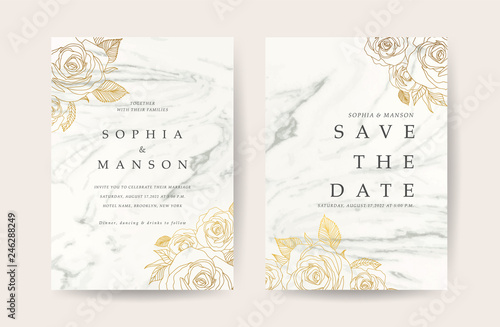 Fototapeta Marble Wedding Invitation Design With White Marbling Background And Golden Rose Decoration Can Be Adapt To Covers Design Rsvp Brochure