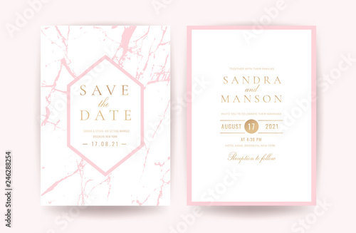 Fototapeta Luxury Pink And Rose Gold Marble Wedding Invitation Cards Vector Template Can Be Adapt To Covers Design Rsvp Brochure Packaging