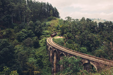 Train On Nine Arch Bridge In Ella Sri Lanka
