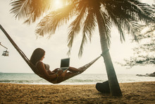 Young Woman Working On Laptop Seating In Hammock Under Palm Trees On Tropical Beach