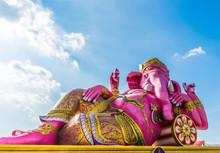 Pink Ganesha Statue At The Wat Saman Rattanaram Near Bangkok In Thailand.