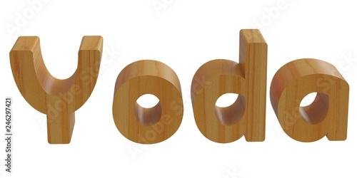 yoda in 3d name with wooden texture Wallpaper Mural