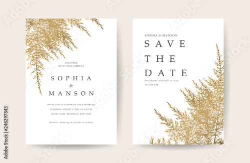 Fototapeta Luxury Natural Wedding Card for summer and spring seasons. Design With golden leaves minimal style decoration. Vector obraz na płótnie