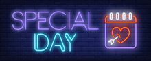 Special Day Neon Text And Cale...