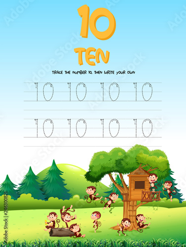 Staande foto Kids Number five tracing worksheets