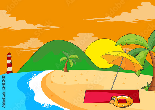 Flat summer beach landscape
