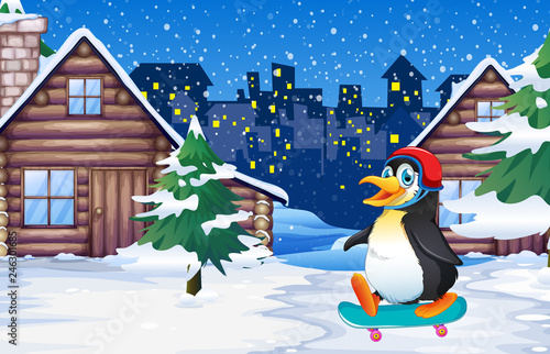 Penguin playing skateboard in winter
