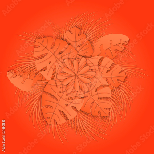 Coral palm leaves  Coral exotic background  Design of summer or
