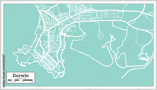 Darwin Map Of Australia.Darwin Australia City Map In Retro Style Outline Map Buy This