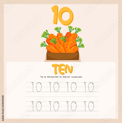 Staande foto Kids Number tene tracing worksheets