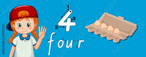 Staande foto Kids Number four writing tracing
