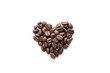 canvas print picture - Heart shape of roasted coffee beans isolated on a white background.