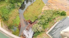Aerial Footage Of Creek And Dam