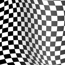 Realistic Detailed 3d Racing Wavy Flag Background. Vector